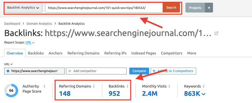 Strumento di analisi backlink SEMrush - Backlink SEJ