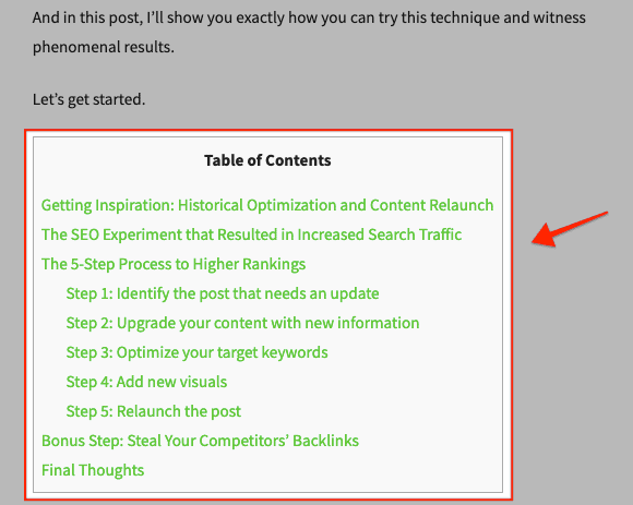 Table of Contents - Search Intent