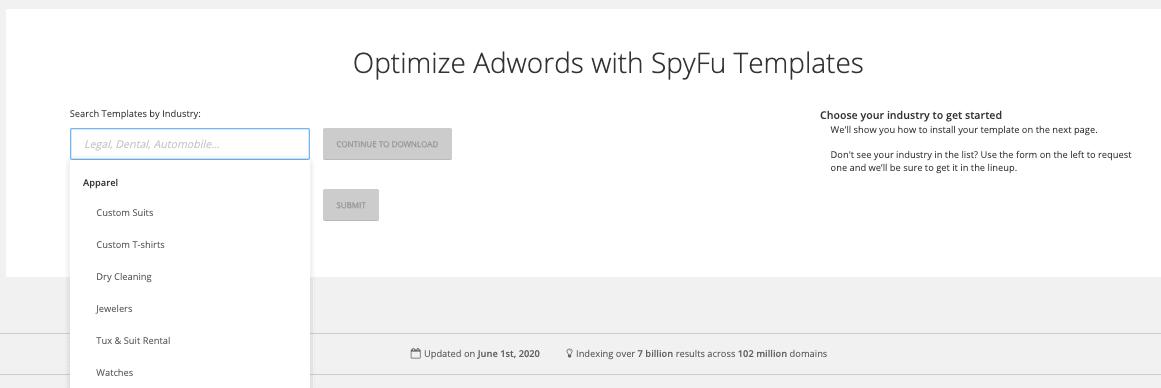 AdWords Templates by SpyFu
