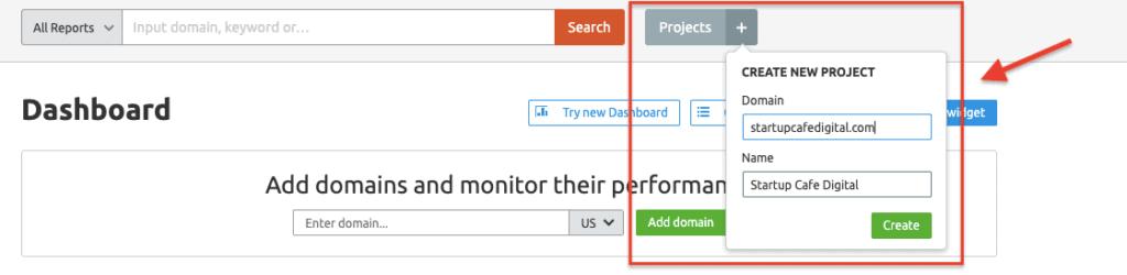 Adding New Project - SEMrush