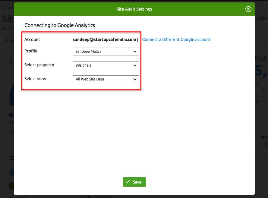 Google Analytics Settings - SEMrush