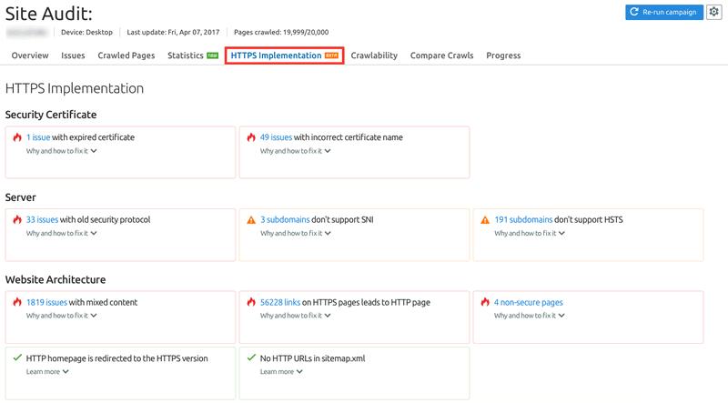 SEMrush HTTPS Report