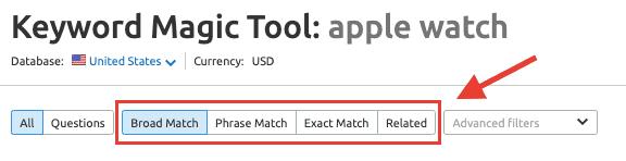 SEMrush Keyword Match Modifiers