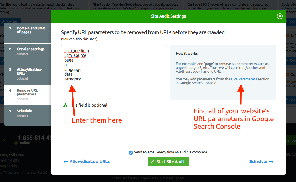 SEMrush Site Audit Settings - URL Parameters