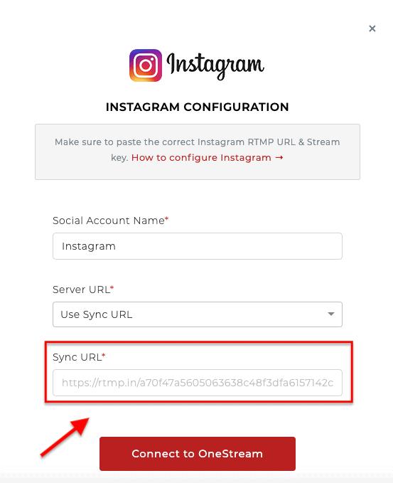 Instagram Configuration (Sync URL) - OneStream Live