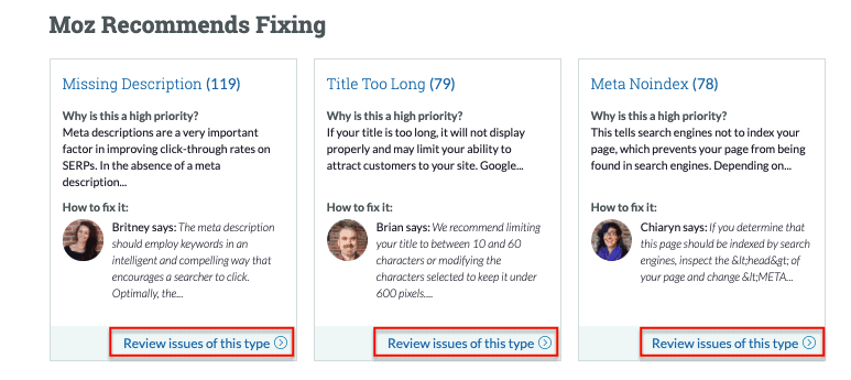 Moz Recommends Fixing - Moz Site Crawl