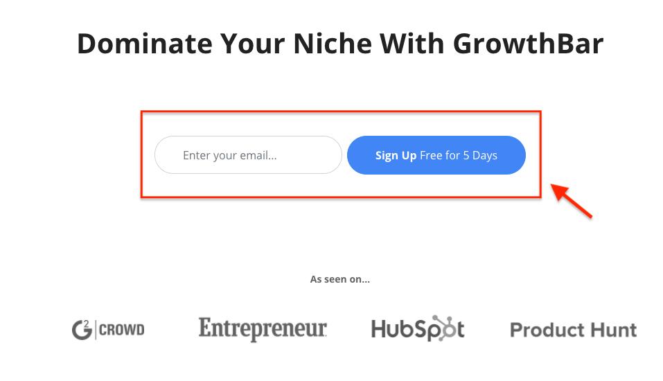 GrowthBar Signup Process