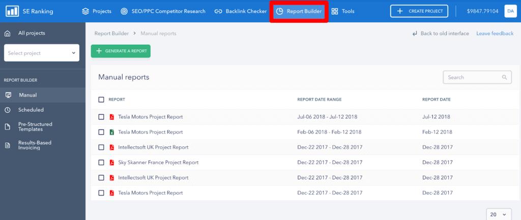 SE Ranking Report Builder
