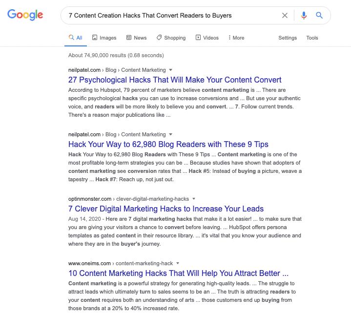 Google SERPs - Content Creation Hacks