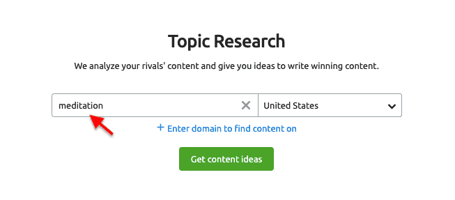 SEMrush Topic Research Tool - Get Content Ideas