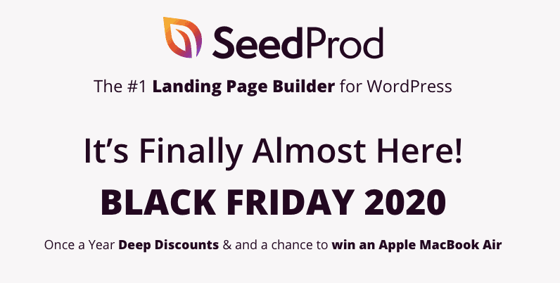 SeedProd Black Friday Deal 2020