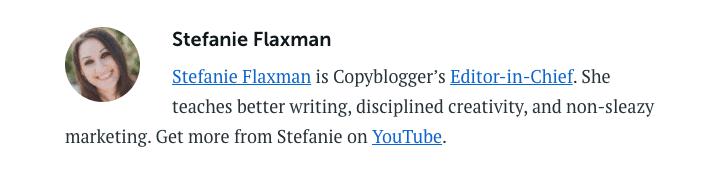 Copyblogger Author Bio - Google EAT