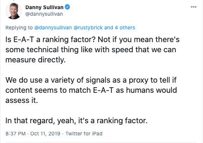 Danny Sullivan Tweet - Google EAT