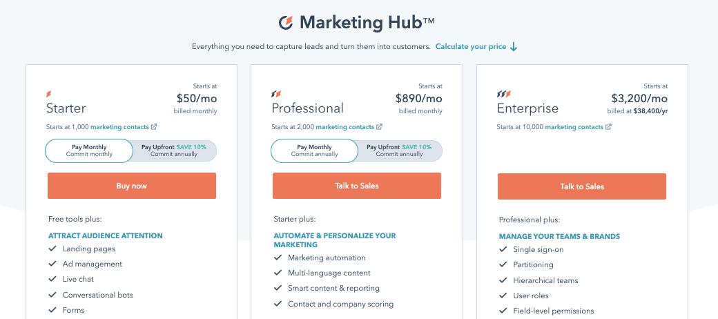 HubSpot Marketing Hub Pricing 2021