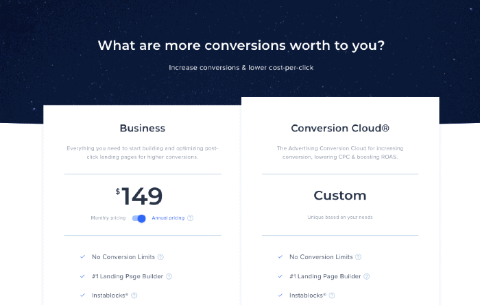 Instapage Pricing Plans 2021