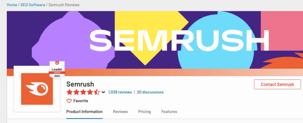 Semrush reviews - G2