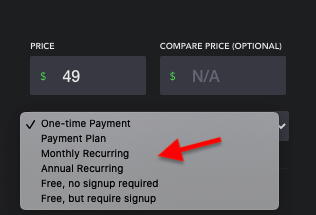 Course Settings - Pricing