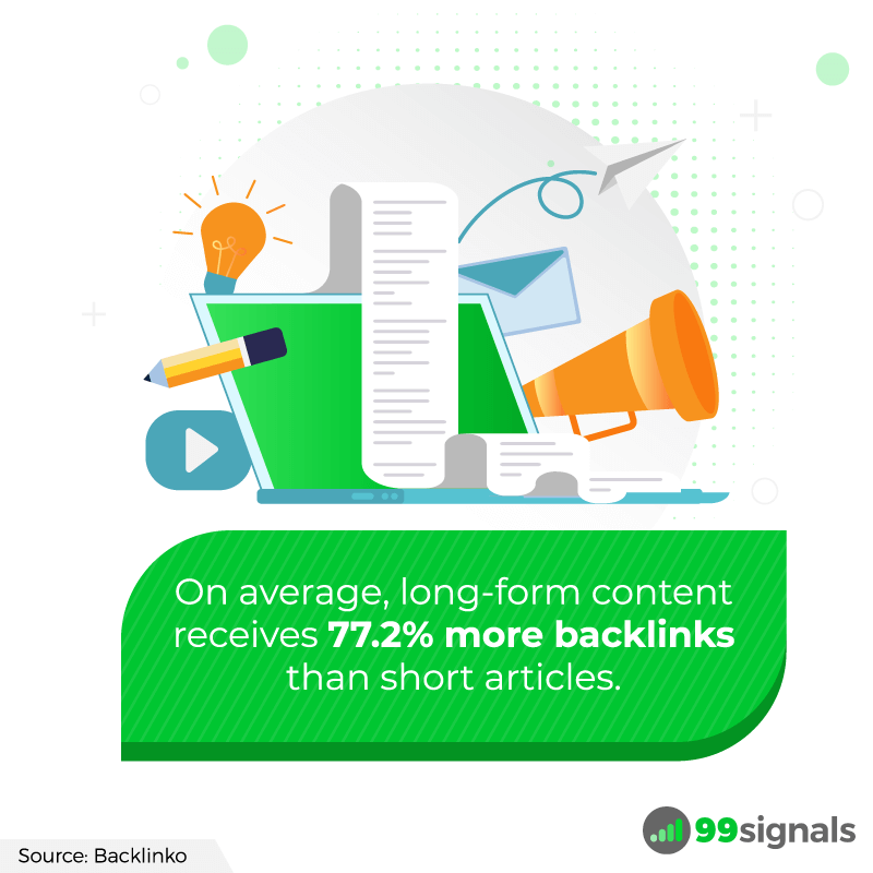 Long-form Content Backlinks - SEO Stats by 99signals