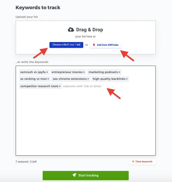 Mangools - Keywords to track