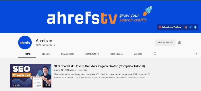 Ahrefs YouTube Channel - Best Marketing YouTube Channels