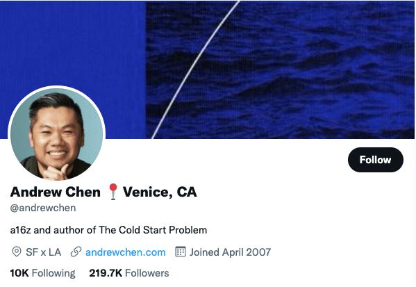 Andrew Chen on Twitter - 21 Best Twitter Accounts to Follow for Entrepreneurs