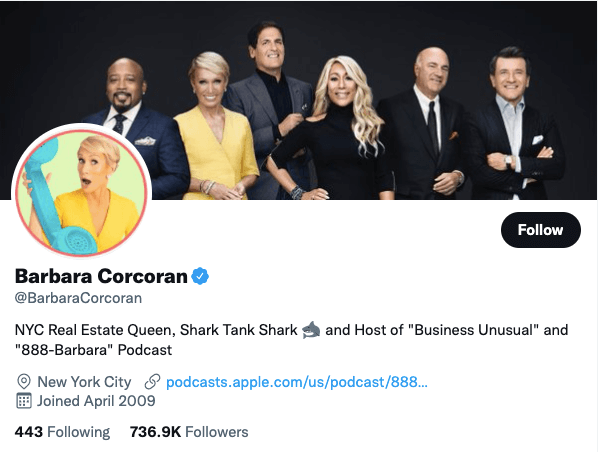 Barbara Corcoran on Twitter - 21 Best Twitter Accounts to Follow for Entrepreneurs