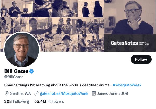 Bill Gates on Twitter - 21 Best Twitter Accounts to Follow for Entrepreneurs