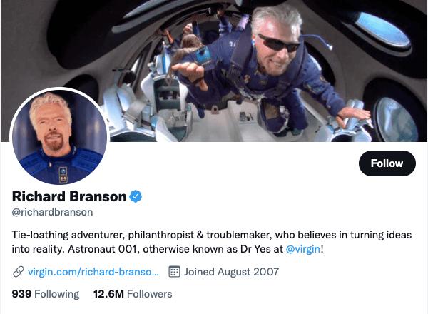 Richard Branson on Twitter - 21 Best Twitter Accounts to Follow for Entrepreneurs