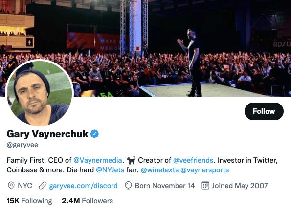 GaryVee on Twitter - 21 Best Twitter Accounts to Follow for Entrepreneurs