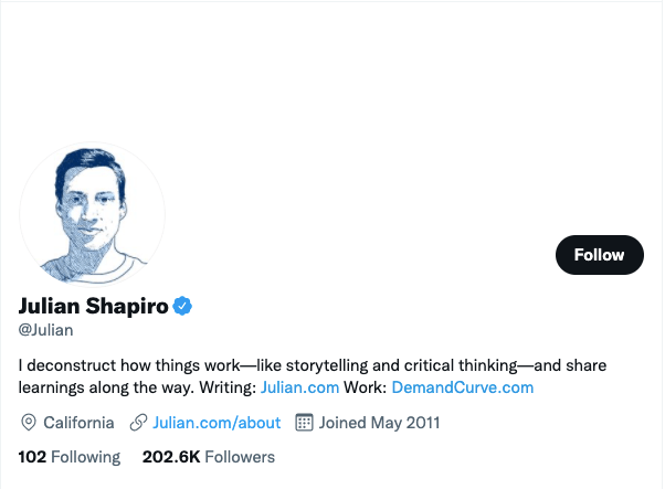Julian Shapiro on Twitter - 21 Best Twitter Accounts to Follow for Entrepreneurs
