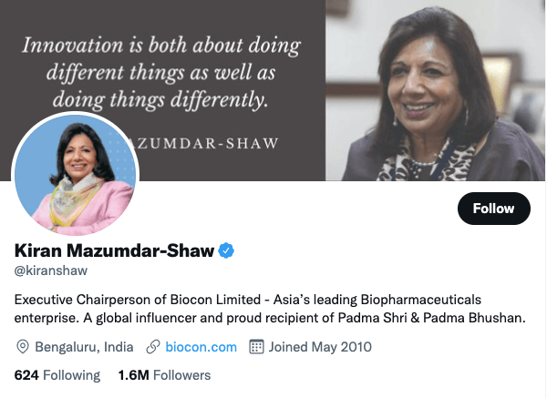 Mazumdar-Shaw on Twitter - 21 Best Twitter Accounts to Follow for Entrepreneurs