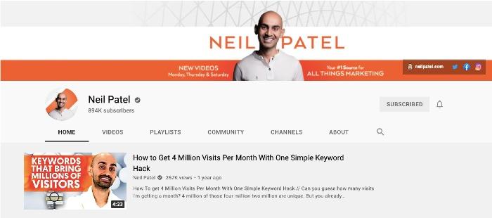 Neil Patel's YouTube Channel - Best Marketing YouTube Channels