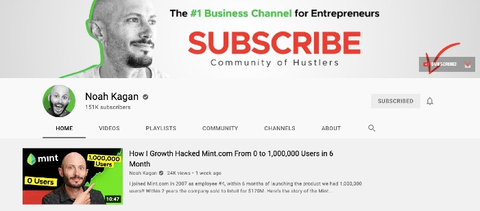 Noah Kagan's YouTube Channel - Best YouTube Channels for Marketers