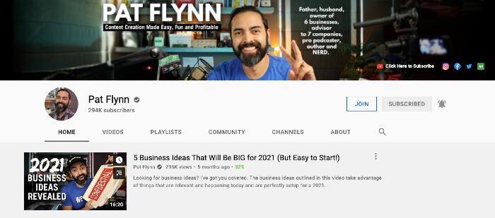 Pat Flynn's YouTube Channel - Best Marketing YouTube Channels