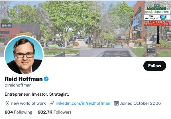 Reid Hoffman on Twitter - 21 Best Twitter Accounts to Follow for Entrepreneurs