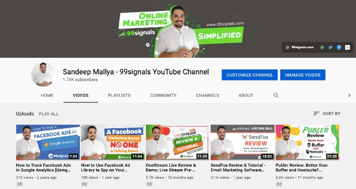 Sandeep Mallya's YouTube Channel - Best Marketing YouTube Channels