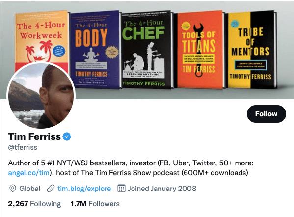Tim Ferriss on Twitter - 21 Best Twitter Accounts to Follow for Entrepreneurs