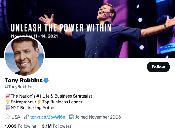 Tony Robbins on Twitter - 21 Best Twitter Accounts to Follow for Entrepreneurs