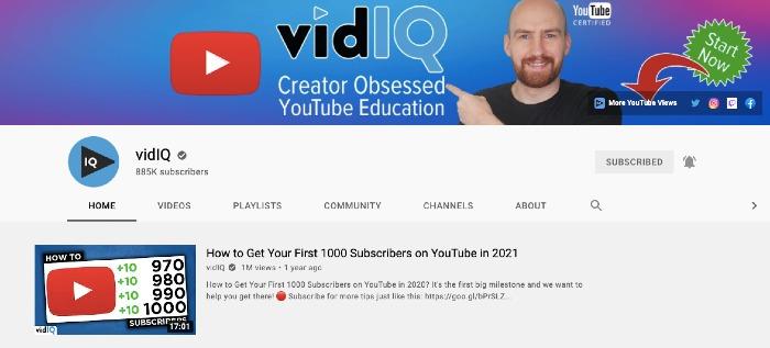 vidIQ YouTube Channel - Best Marketing YouTube Channels