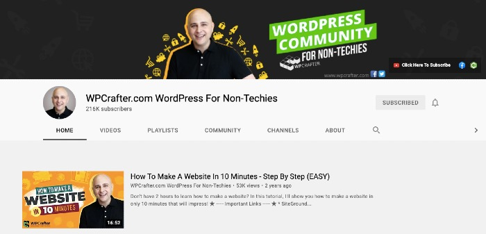 WPCrafter YouTube Channel - Best YouTube Channels for Marketers
