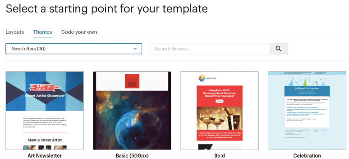 Mailchimp email themes