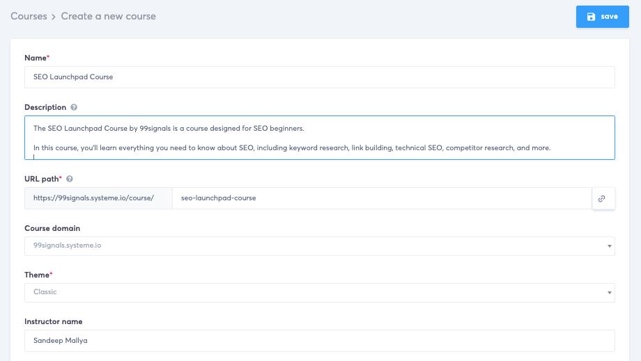Systeme.io Course Settings