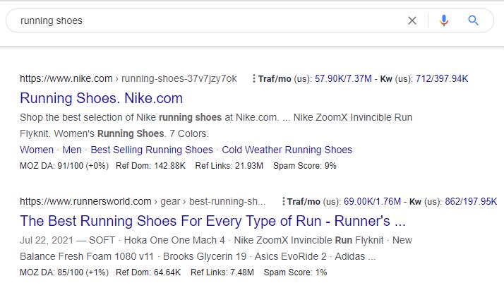 Running Shoes SERP